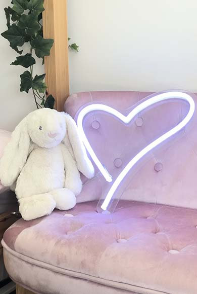 Heart on the sofa with the Rabbit